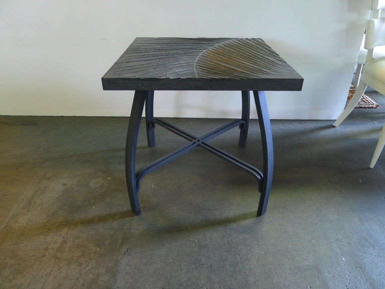 American Hand Carved Fossil Table by Paul Marra Design For Sale