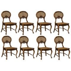 Hand Carved French Country Style Dining Chairs with Caned Back, Set of 8