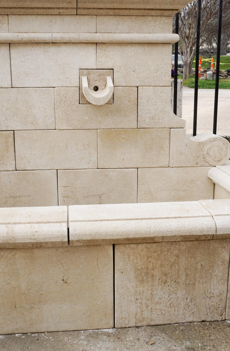 Contemporary Hand Carved French Limestone Wall Fountain For Sale