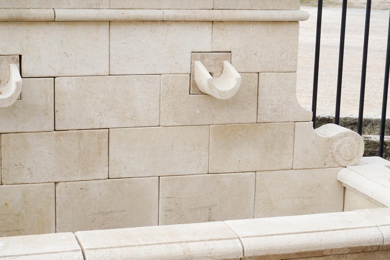Hand Carved French Limestone Wall Fountain For Sale 1