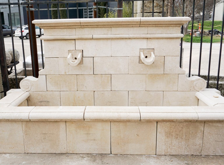 Hand Carved French Limestone Wall Fountain For Sale 5
