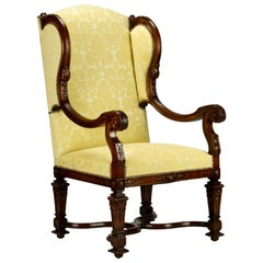 Fully Restored Hand Carved French Louis XIV Walnut Wingback Armchair, 1800s