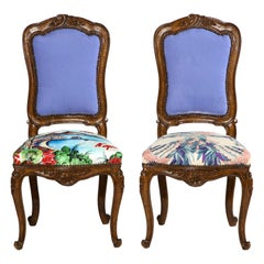 Hand Carved French Side Chairs with Tanzanite Velvet Backs & Hermès Silk Scarves