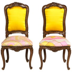 Hand Carved French Side Chairs, Yellow Cashmere Backs & Graphic Silk Seats, Pair