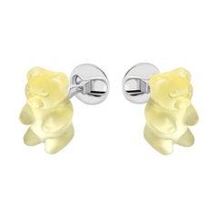 Hand-Carved Gemstone 'Citrine' Candy Gummy Bear Sterling Silver Cufflinks by FU