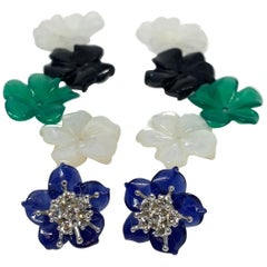 Hand Carved Gemstone Flower Earring Jacket Set, 18k Gold & Diamond Stamen Posts