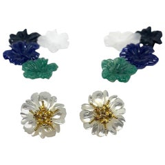 Hand Carved Gemstone Flower Earring Jacket Set 18k Gold & Sapphire Stamen Posts
