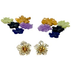 Hand Carved Gemstone Flower Earring Jacket Set 18k Gold & Yellow Sapphire Posts
