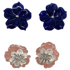 Hand Carved Gemstone Flower Earring Jacket Set with 18 Karat Gold Stamen Posts