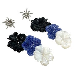 Hand Carved Gemstone Flower Earring Jacket Set with 18k White Gold and Diamonds