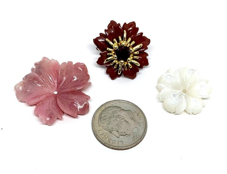 Artisan Hand Carved Gemstone Flower Earring Jackets 18 Karat Gold and Garnet Posts