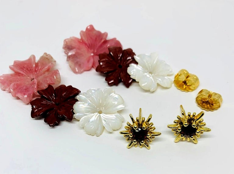 Round Cut Hand Carved Gemstone Flower Earring Jackets 18 Karat Gold and Garnet Posts