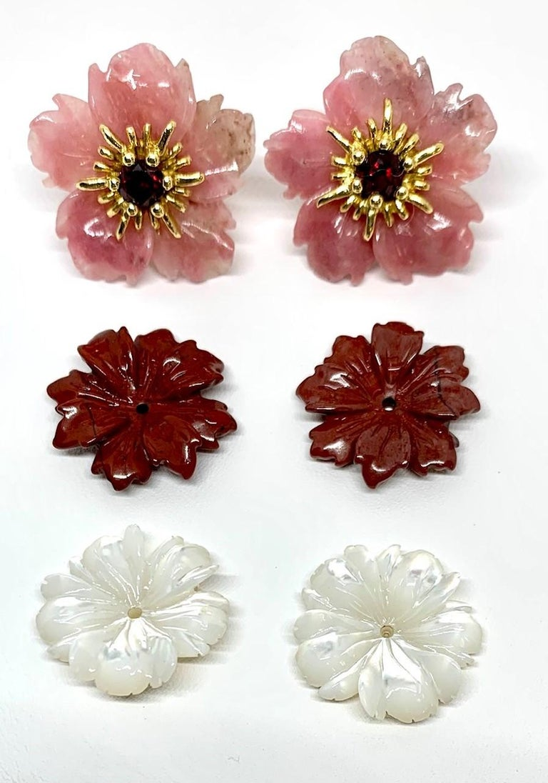 Hand Carved Gemstone Flower Earring Jackets 18 Karat Gold and Garnet Posts 2