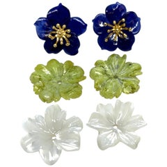 Hand Carved Gemstone Flower Earring Jackets with 18 Karat Gold Stamen Posts