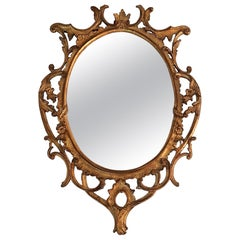 Hand Carved Gilded Oval Rococo Mirror, Italy