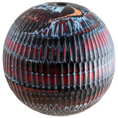 Hand-Carved Glass Vase, Mokume Battuto Red Sphere - In Stock