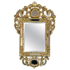 Hand Carved Gold-Plated Wooden Mirror, 19th Century