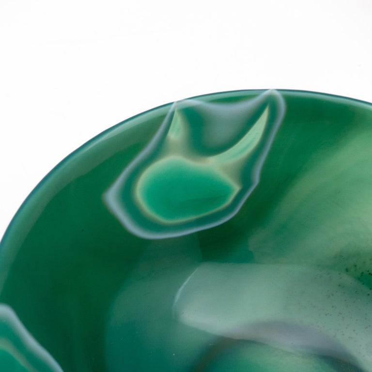 Chinese Hand Carved Green Agate Semi-Precious Stone Bowl
