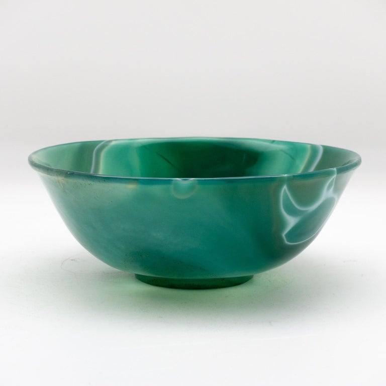 Hand Carved Green Agate Semi-Precious Stone Bowl In Excellent Condition In New York, NY