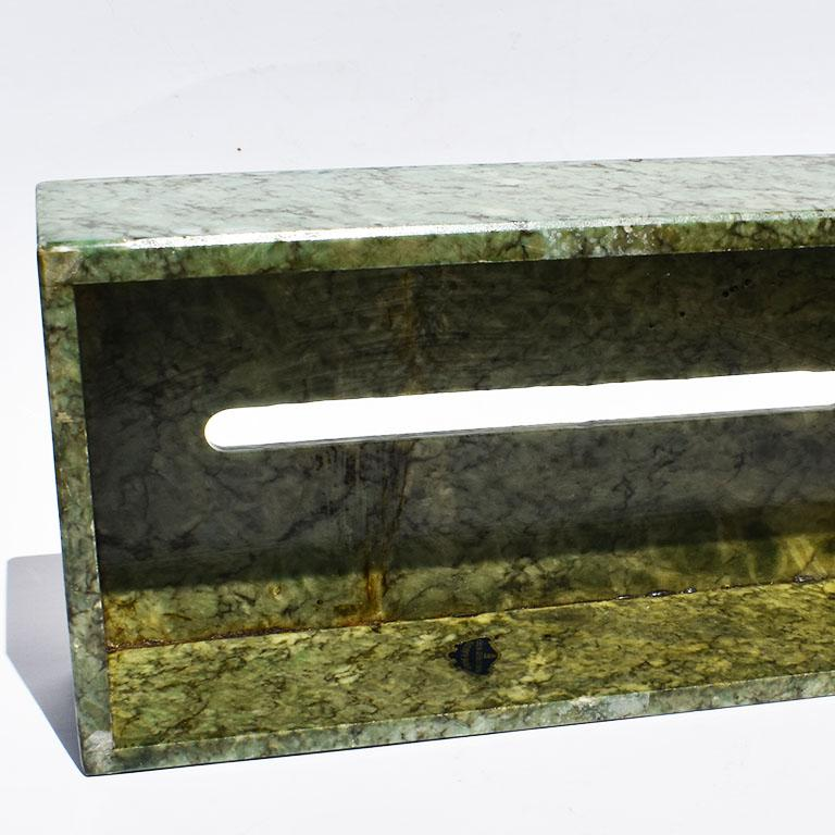 Hollywood Regency Hand Carved Green Alabaster Stone Tissue Box Cover, Italy For Sale