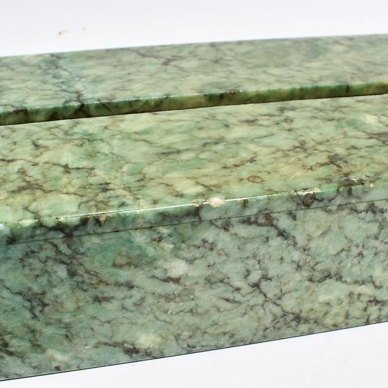 Hand Carved Green Alabaster Stone Tissue Box Cover, Italy In Good Condition For Sale In Oklahoma City, OK