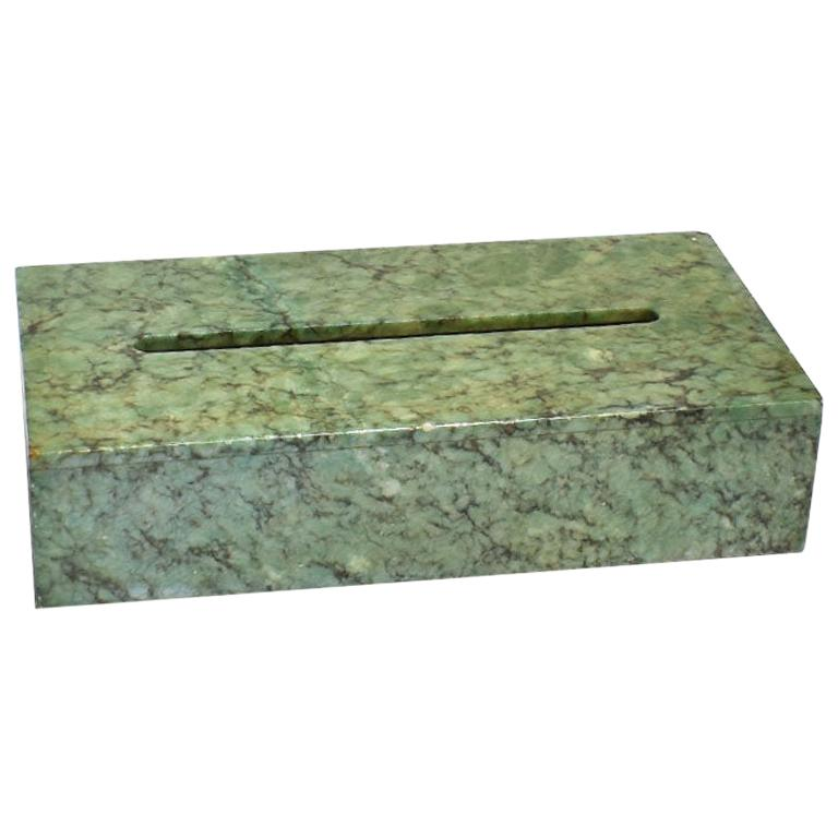 Hand Carved Green Alabaster Stone Tissue Box Cover, Italy For Sale
