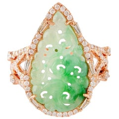 Hand Carved Green Jade 18 Karat Gold Diamond Ring