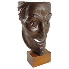 Hand Carved Grotesque Wood Mask Signed Sculpture