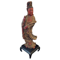 Guanyin Chinese Goddess of Mercy on Black Wood Stand, Mid-20th Century