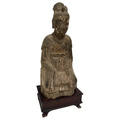 Hand Carved Guanyin Chinese Goddess of Mercy on Wood Stand, 19th Century