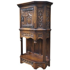 Hand Carved and Half Open Gothic Revival Credenza or Wall Cabinet with Drawer