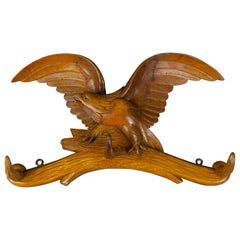 Hand Carved Hat Rack with Eagle Carving and Three Wooden Hooks, Germany, 1930s