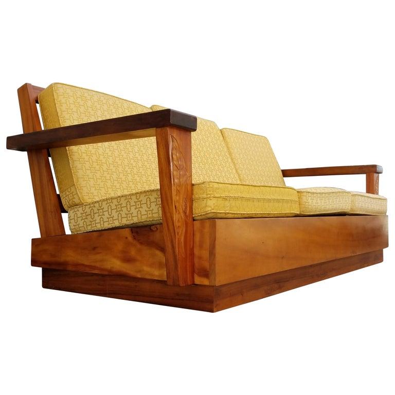 Hand Carved Hawaiian Solid Koa Sofa At 1stdibs