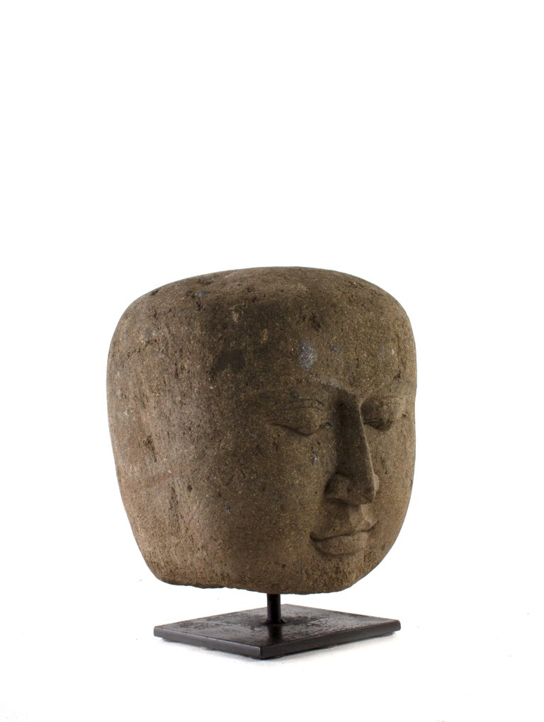 South Asian Hand Carved Head of Buddha, Indoor / Outdoor For Sale