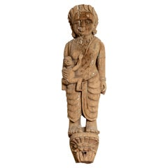 Hand Carved Indian Temple Carving Statue from Gujarat Depicting Mother and Child