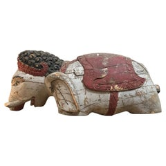 Hand Carved Indian Wooden Elephant Statue