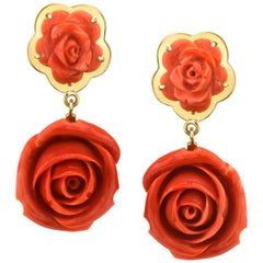 Hand Carved Italian Coral Rose, Yellow Gold French Clip Drop Dangle Earrings