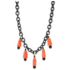 Hand Carved Italian Coral, Onyx, Yellow Gold Charm Necklace with Blackened Steel