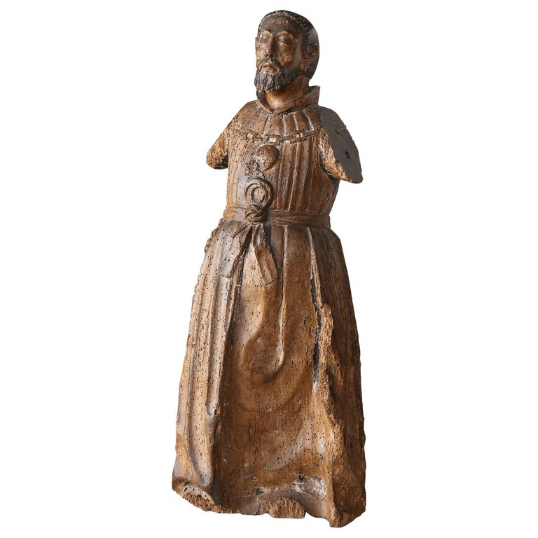 Hand Carved Italian Santo For Sale