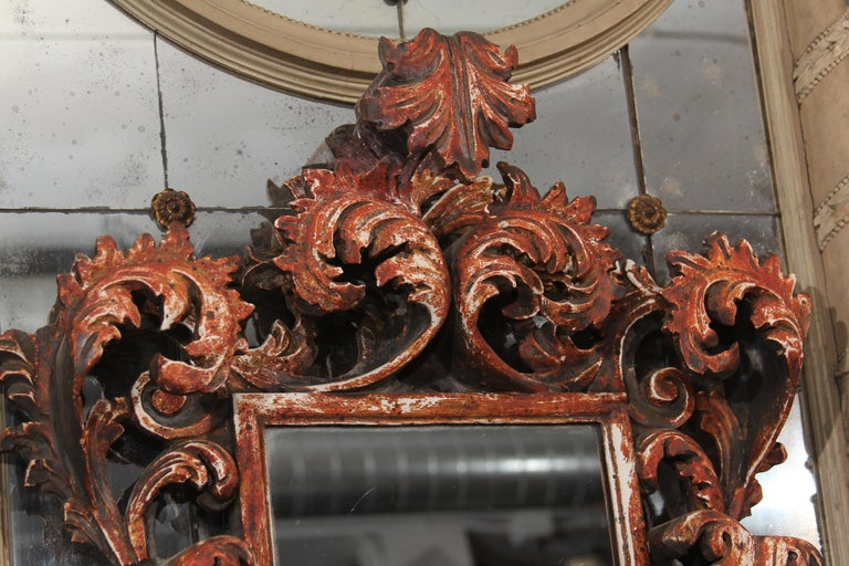 20th Century Hand Carved Italian Wood Mirror For Sale