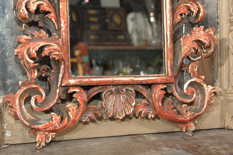 Glass Hand Carved Italian Wood Mirror For Sale