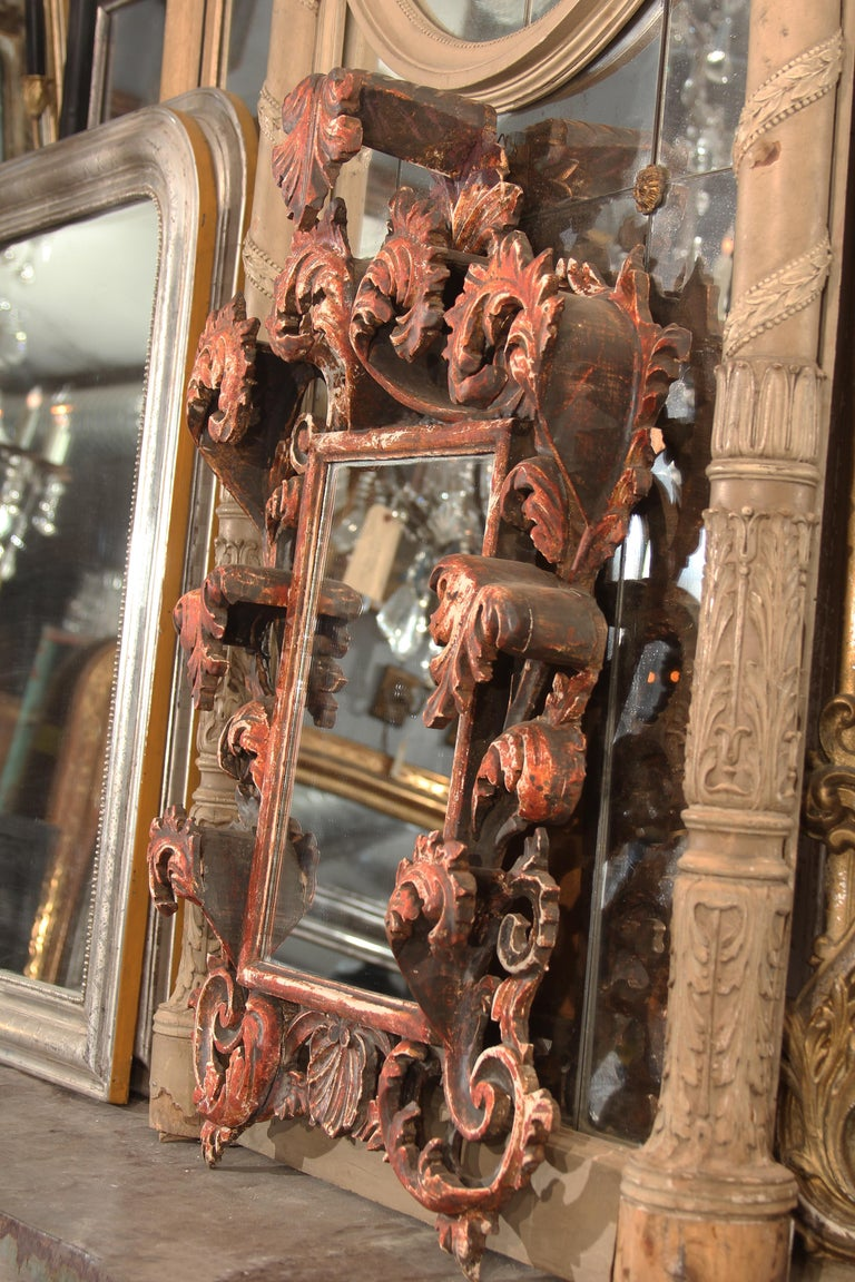 Hand Carved Italian Wood Mirror For Sale 1