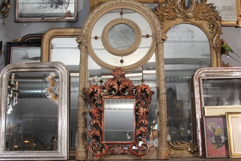 Hand Carved Italian Wood Mirror For Sale 3