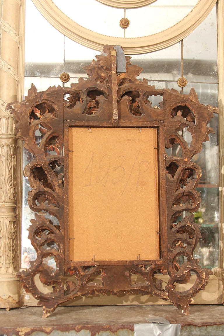 Hand Carved Italian Wood Mirror For Sale 4