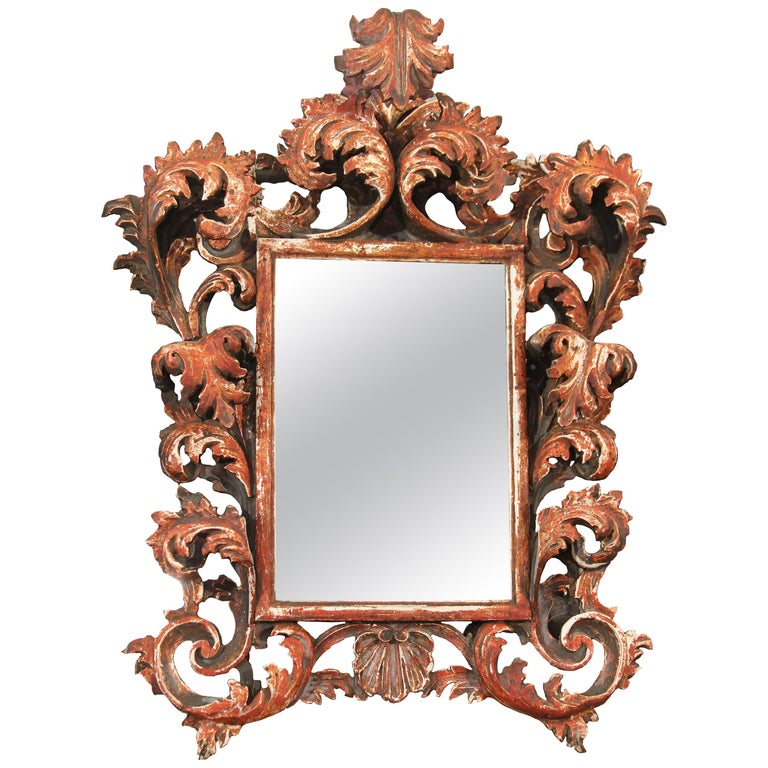 Hand Carved Italian Wood Mirror For Sale