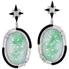 Carved Jade Black Onyx Diamond Earrings