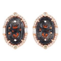 Hand Carved Jade Diamond 18 Karat Gold Stud Earrings