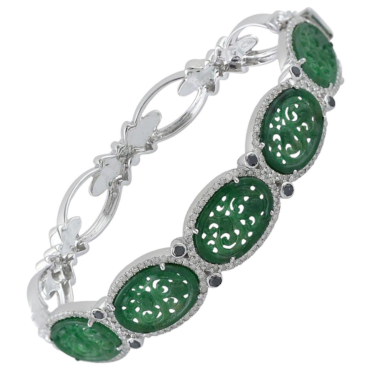 Hand Carved Jade Diamond Bangle Bracelet