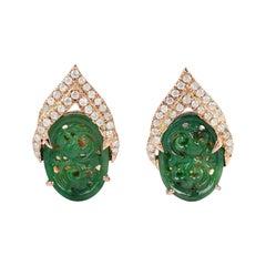 Hand Carved Jade Diamond Stud 18 Karat Gold Earrings