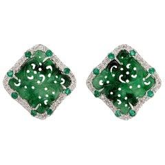 Hand Carved Jade Emerald Diamond 18 Karat Gold Stud Earrings